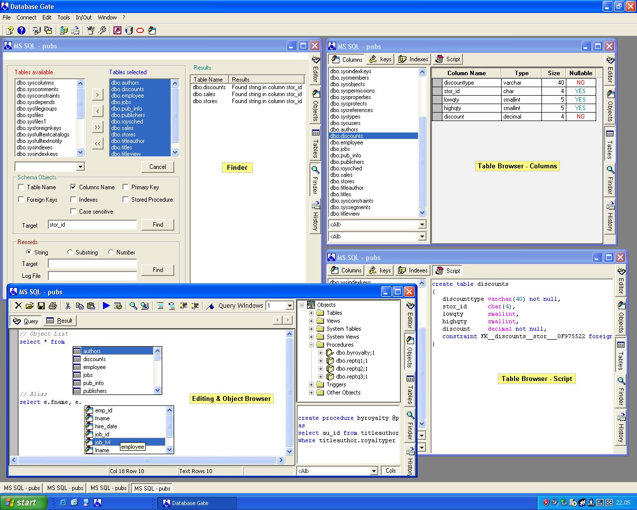 sql, editor, ODBC, database, table, syntax highlighting, client, server, DSN